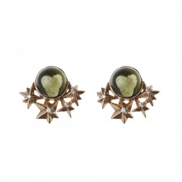Star Earrings with Moldavite