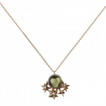 Star Necklace with Moldavite