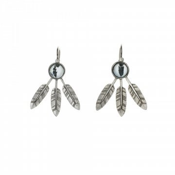 Small feather earrings with stone