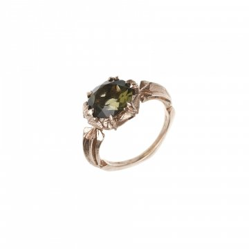 Star Ring with Moldavite
