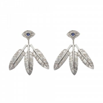 Eye Earrings with Feathers